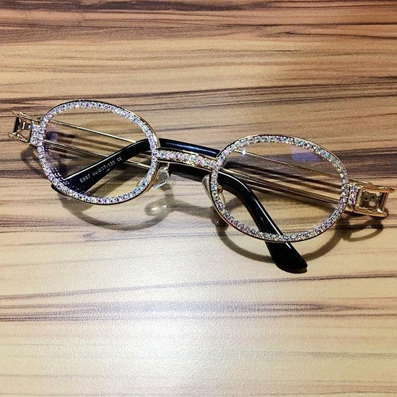 2019 Hip Hop Rétro petites Lunettes de soleil rondes Femmes Vintage Steampunk Lunettes de soleil hommes lentille claire strass Lunettes de soleil UV400 Oculos Qaav #