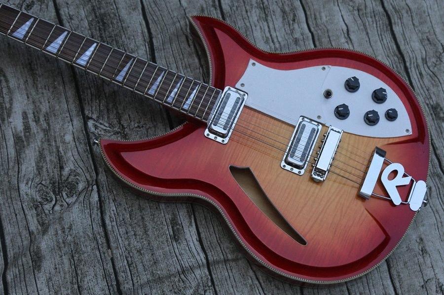 RIC 12 Strings 381 12 Fire Glo 1989 Semi Hollow Body CS Sunburst Electric Guitar Flame Maple Top & Back, Sandwich Neck, Dual Toaster P 81ih#