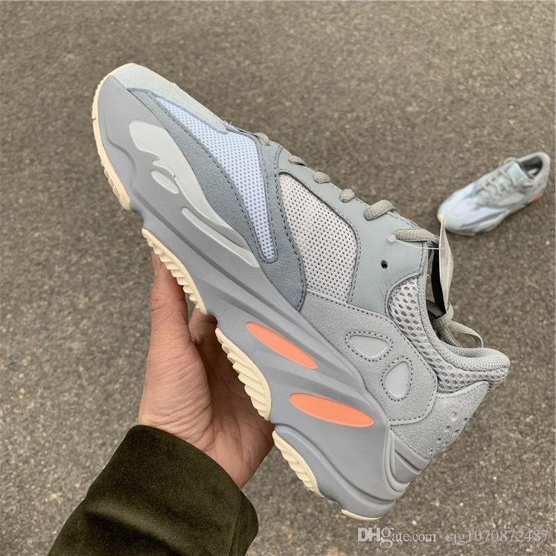 En Yeni En Otantik 700 Atalet Kanye West Ayakkabı Mavi Gri Erkekler Kadınlar Doğa Sporları Sneakers APE779001 ile Kutusu ile Kutu Boyutu 36-47 Koşu