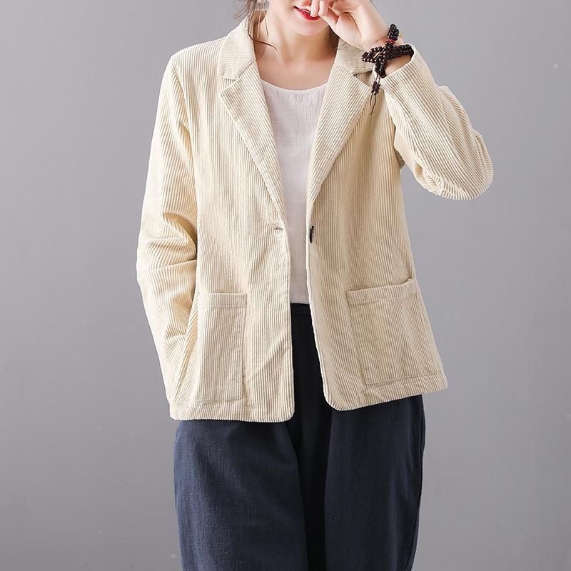 Sonbahar yeni sanatsal Wick ceket düz renk kadife elbise yaka uzun kadınlar için gevşek ince kat sleeve