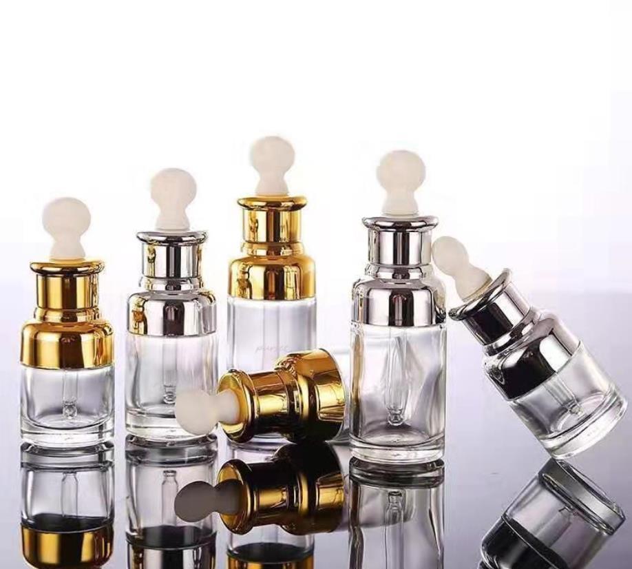 vetro trasparente bottiglia di profumo dell'olio essenziale di prima scelta liquido reagente bottiglia di olio essenziale contagocce aromaterapia coperchio argento dorato