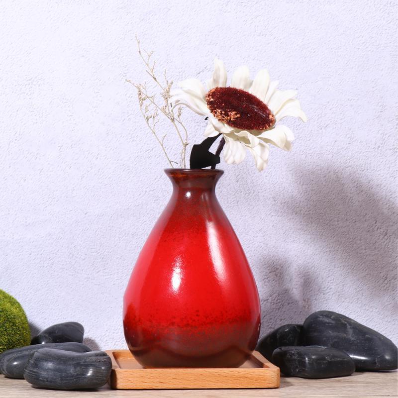 Вазы 1 шт. Керамическая ваза Простая Элегантная цветочная композиция Сухое Настольное Украшение для Office El Home (Red)