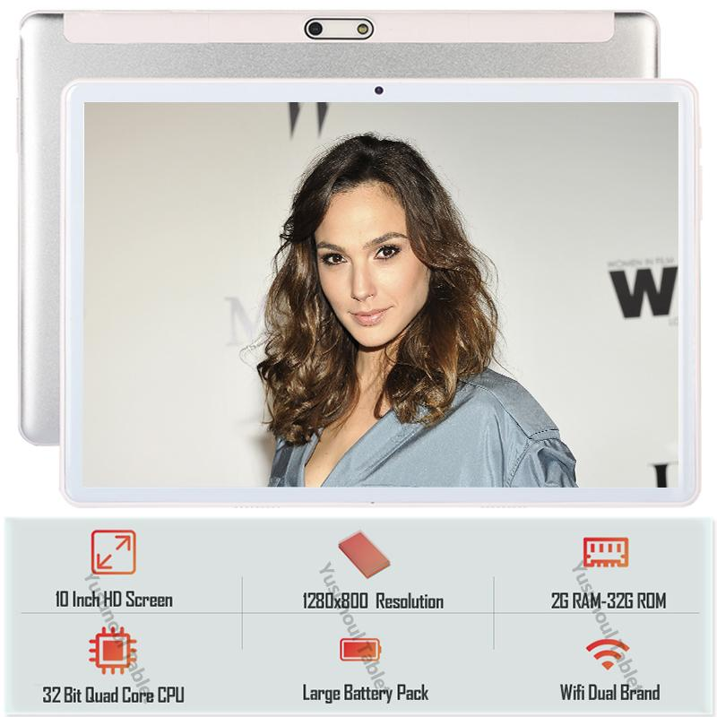 New10 Zoll-Tablet-PC Quad-Core-Android 9.0 WiFi Dual-SIM-Karten-Phone 3G Dual-Kameras Tablets 10.1 32GB ROM Temperierte 2.5D Glass