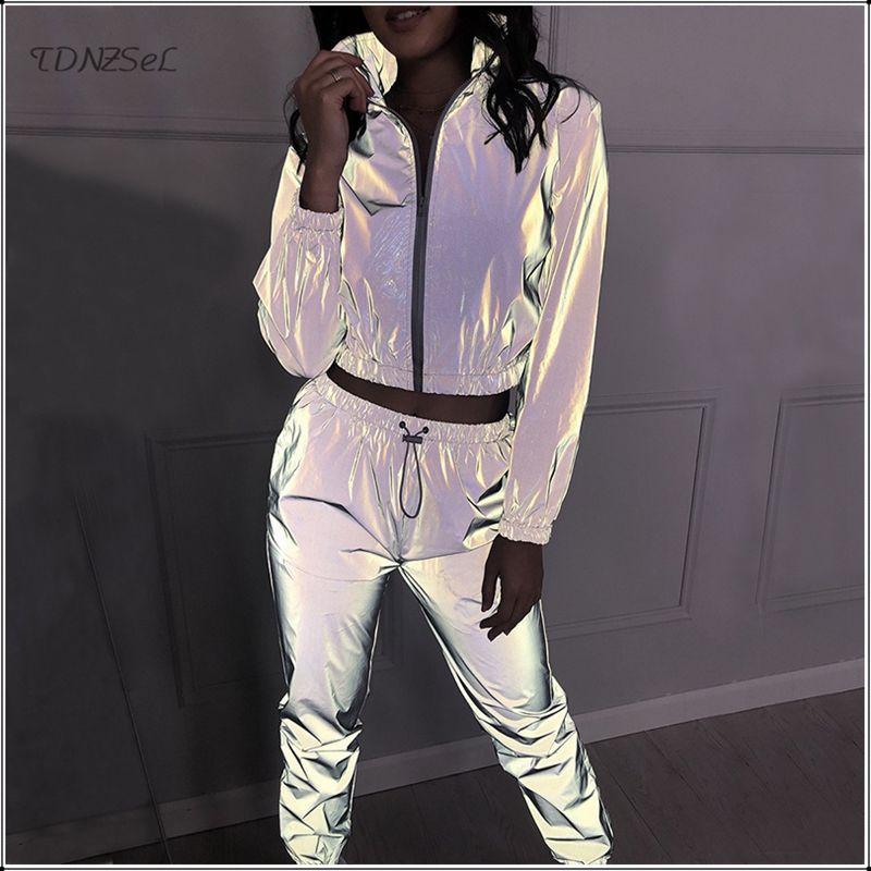Tute da donna Casual Donne Casual Donne Riflettente Tracksuit Two Piece Set Lampeggiante Giacca Zipper Giacca Crop Top Night Pantaloni da corsa Pantaloni Jogger Sport Set OU