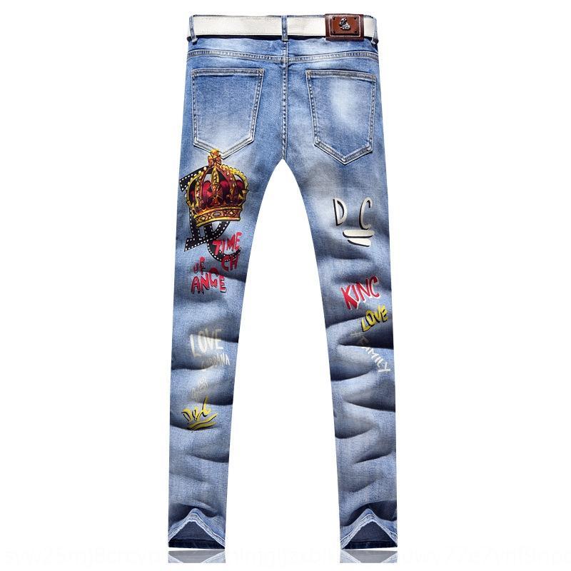 Ljk76 Printing Männer neue Strecke Crown Brief Frühling Jeans Mode Weiß gerade Hosen Jeans Shop online personalisiert und