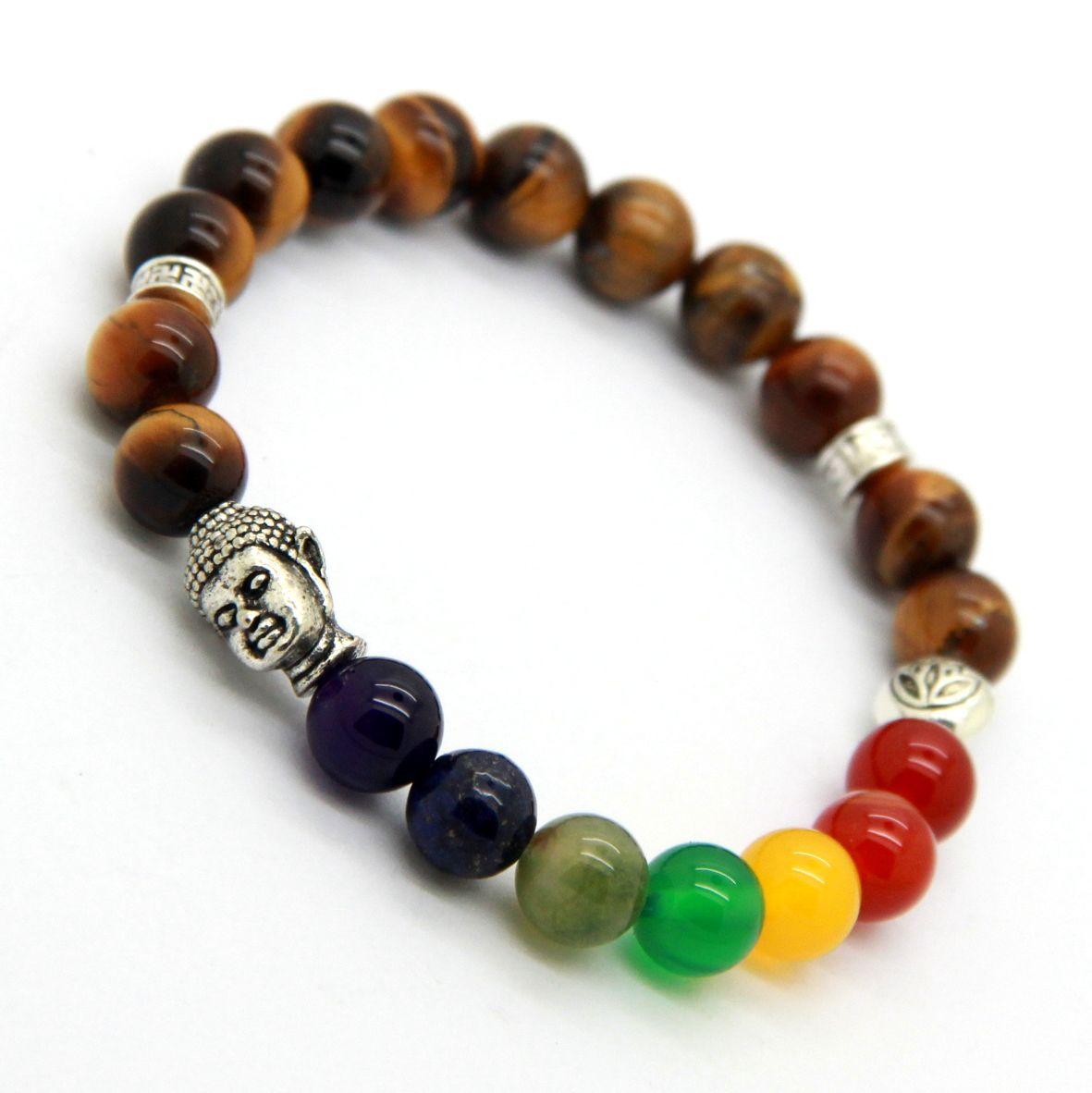 New Products Wholesale 8mm Natural Tiger Eye Stone Beads 7 Chakra Buddha Bracelet, Yoga Meditation Energy Jewelry