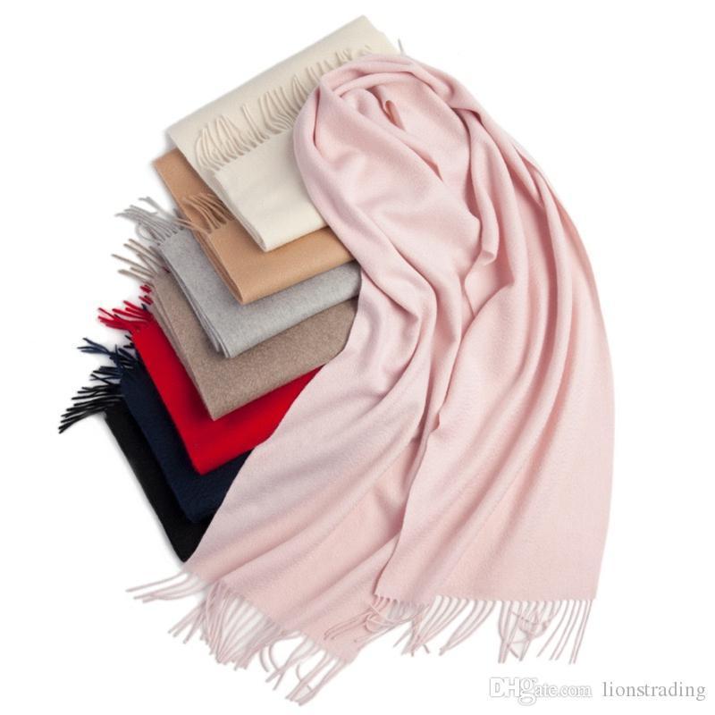 2019 100% pura lana cachemira de Mongolia Interior sólido simple color de la manera del diseño de la bufanda de las bufandas de alta calidad para el invierno caliente 30 * 180cm