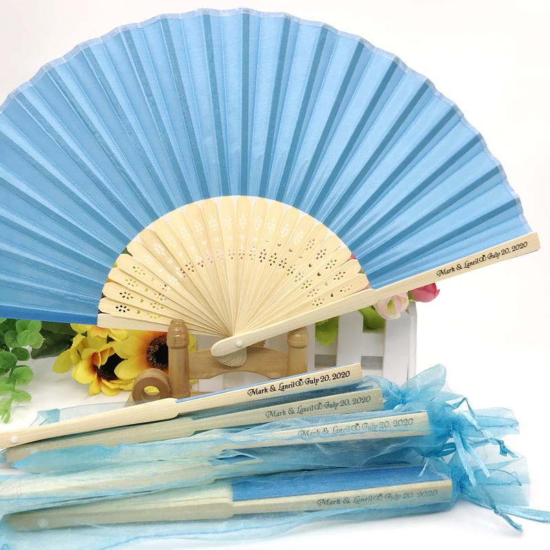 20PCS Personalized Luxurious Silk Fold Hand Fan in Elegant Laser-Cut Gift Box Party Favors/Wedding Gifts Custom Printing