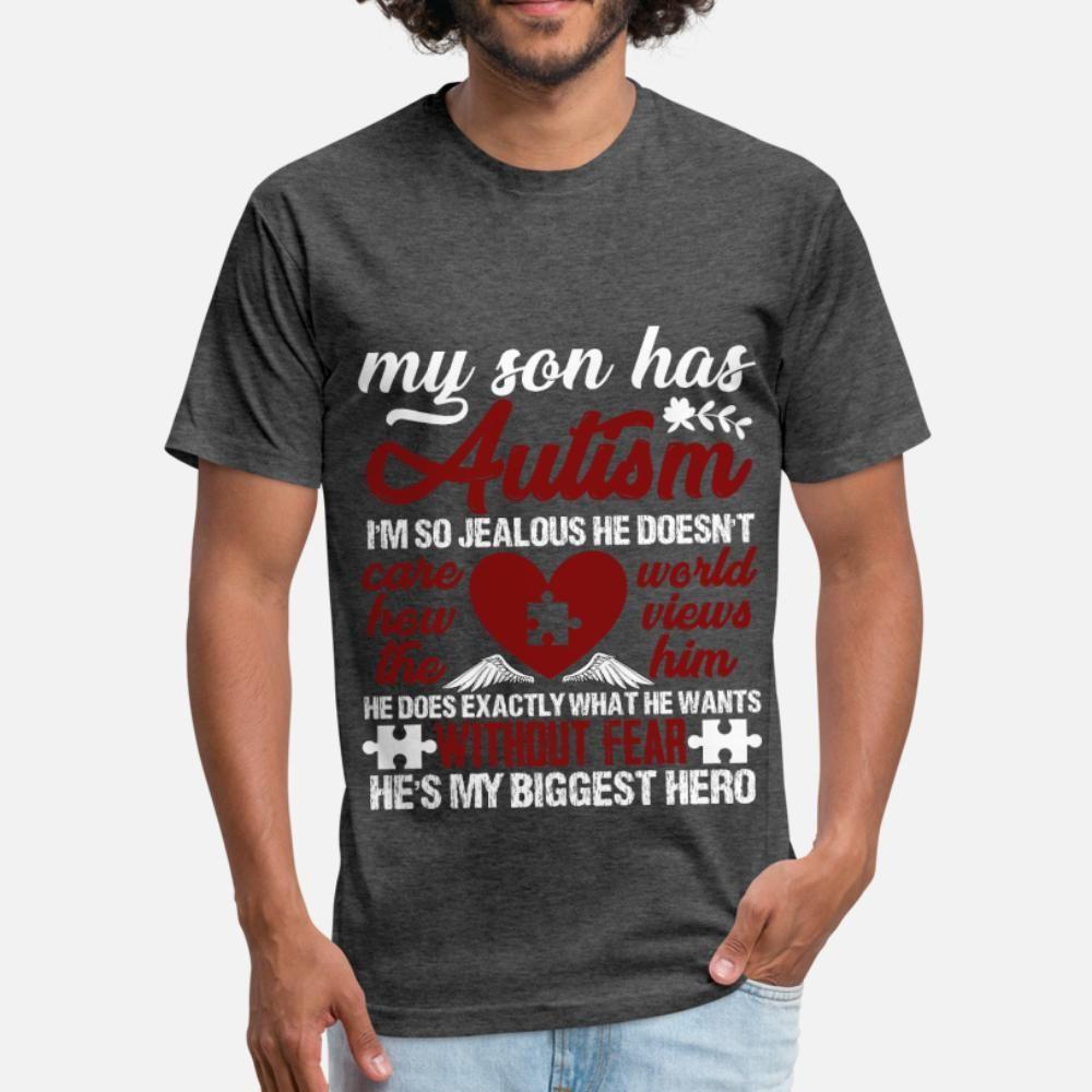 Meu filho tem camiseta homens autismo T imprimiu a camisa O Neck arrefecer camisa engraçada bonito do verão Novelty