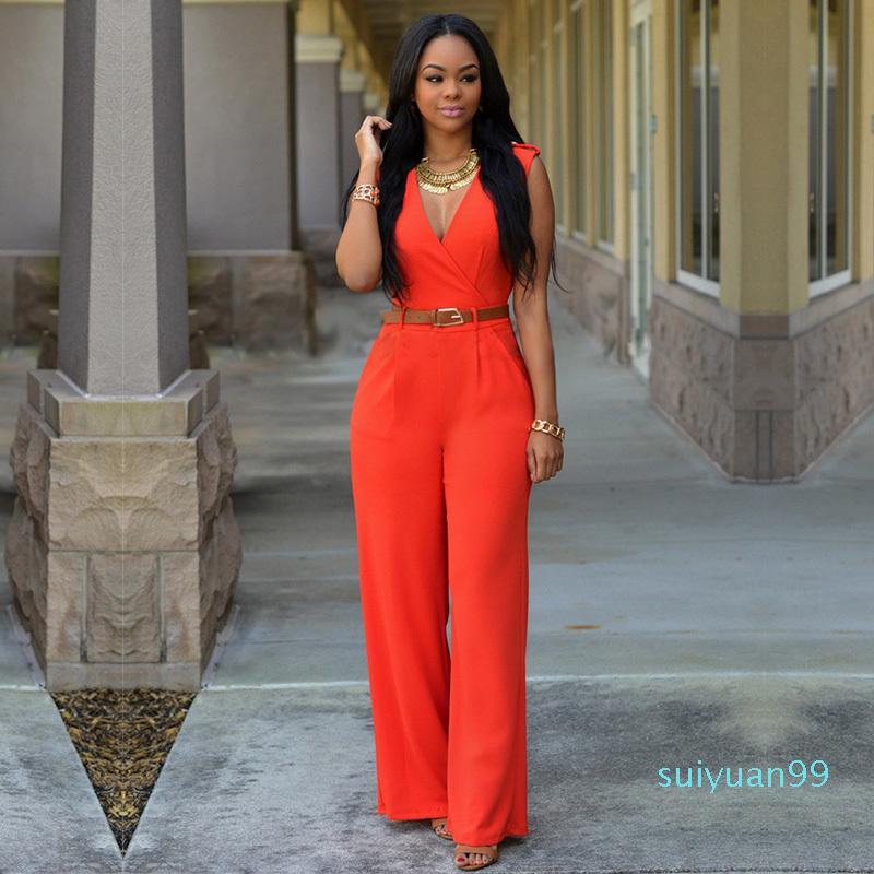 Vendita calda Muxu Scollo a V Donne tuta corpo Feminino Streetwear Estate 2018 Abbigliamento pagliaccetti Abbigliamento Donna Plus Size gamba larga tuta