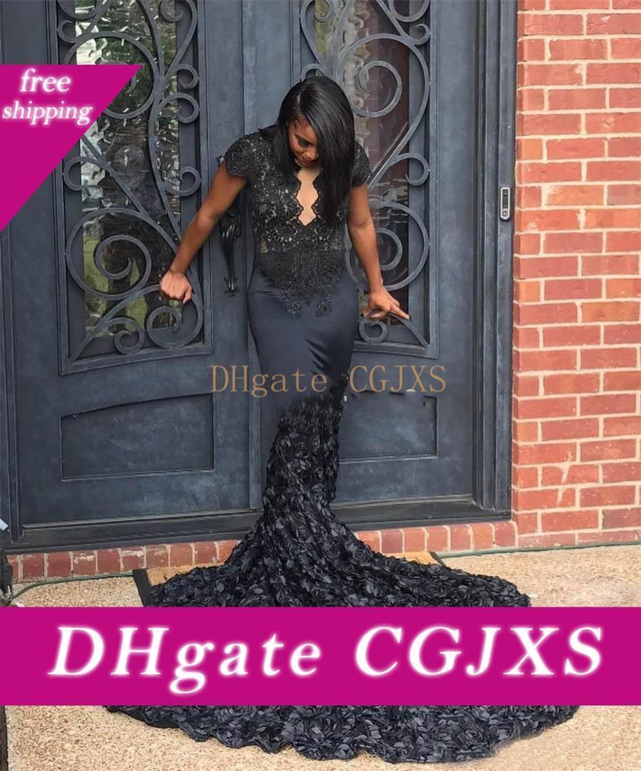 African Black Girls langer Zug-Festzug-Abschlussball-Kleid Elegent Ausgebogte Queen Anne Ausschnitt Black 3d Rosette Mermaid Abendkleider