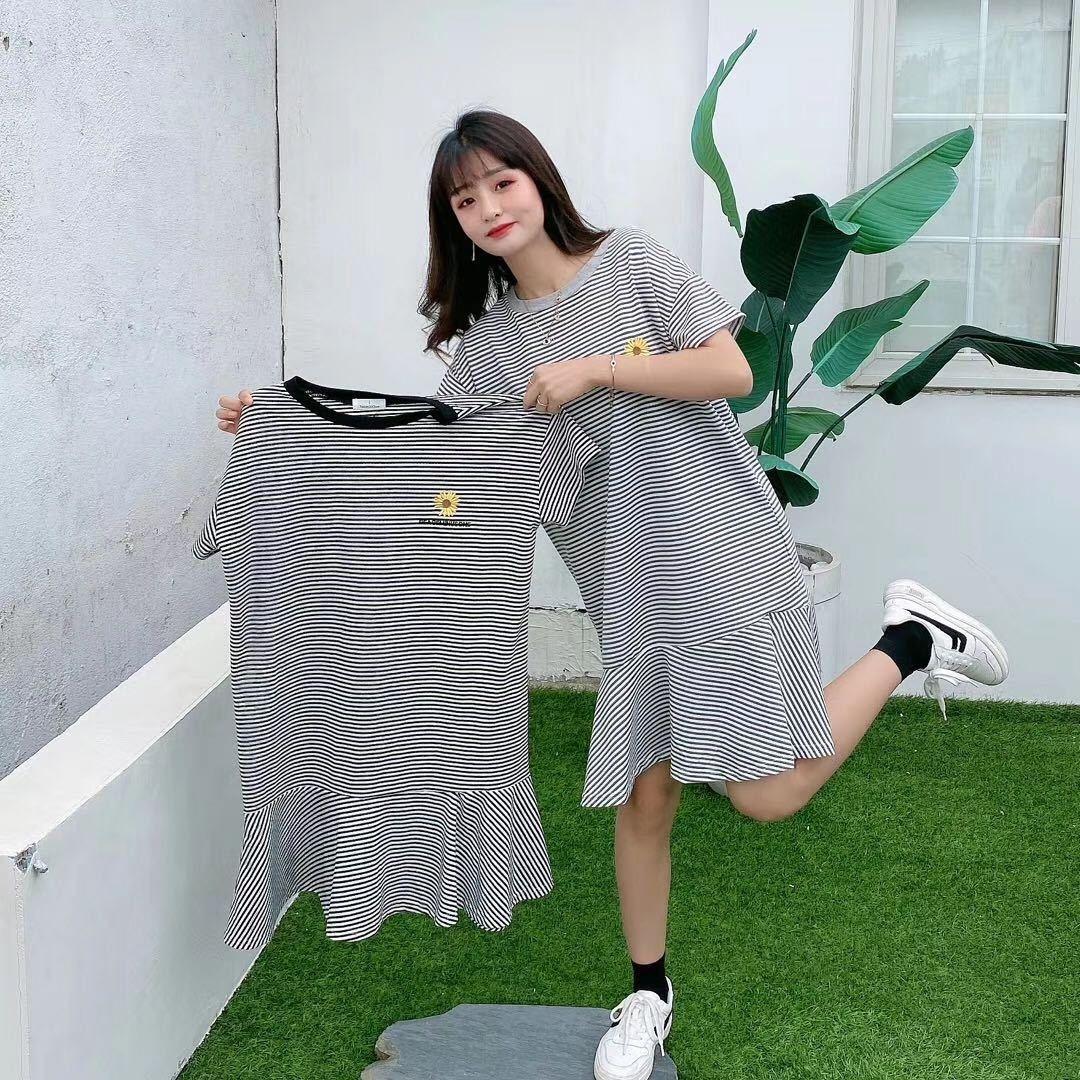 LDZJg JDPz0 2020 estate nuovo fiore rotondo di colore di contrasto a righe ricamo manica lunga ricamo della maglietta del bicchierino ins T-shirt alla moda embroidere