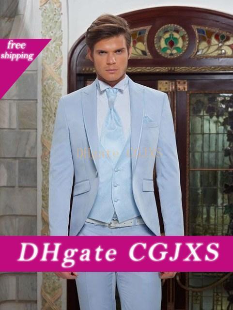 Модный дизайн One Button Sky Blue Groom Tuxedos Groomsmen Пик нагрудные Best Man Костюмы мужские свадебные костюмы (куртка брюки жилет Tie) No: 675
