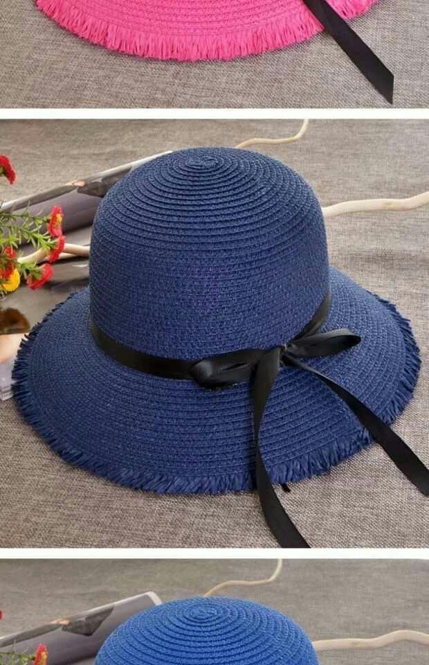 style coréen été nouvelle plage parasol hipster femmes ruban de laine bowknot grande paille frontière chapeau chapeau de paille papillon