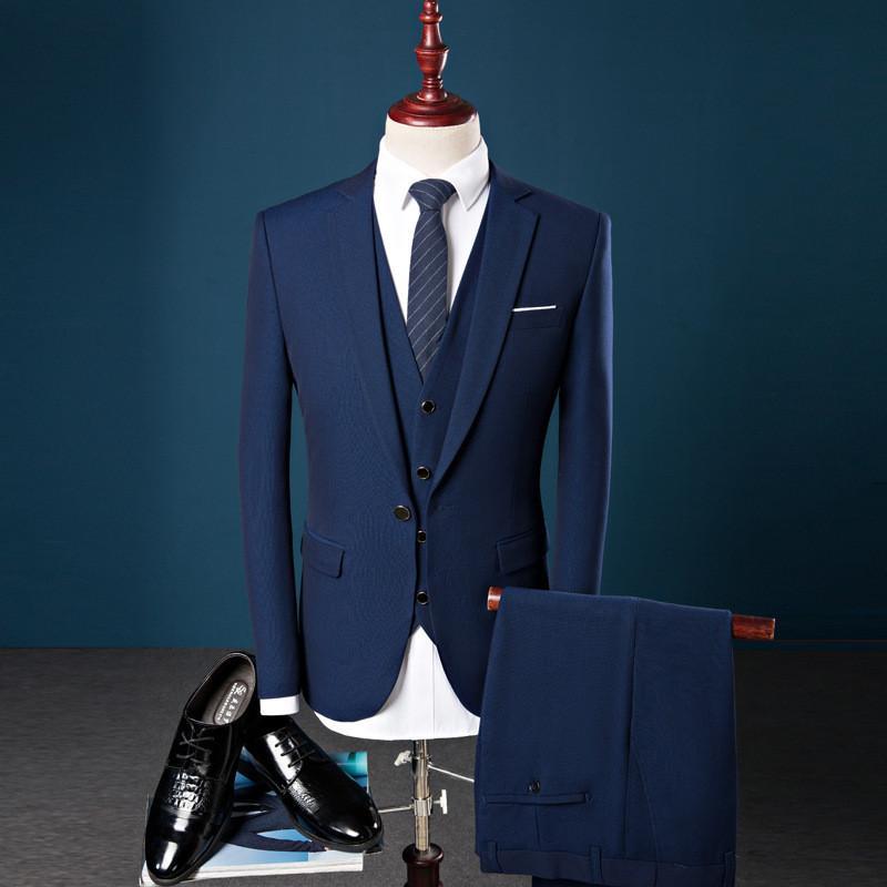 traje traje de caballero Delgado solo botón de la moda traje de tres piezas de los hombres de los hombres (chaqueta + pantalones + chaleco) de negocios formales trajes de hombre