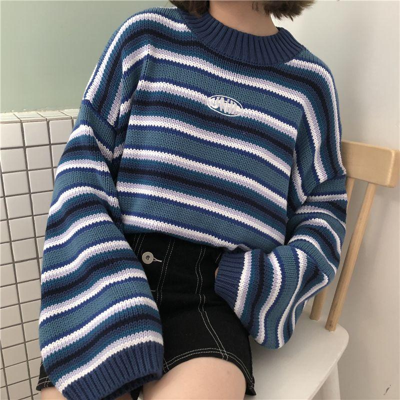 do sexo feminino coreano Harajuku roupas para mulheres soltas selvagem listrado Student Sweater Mulheres Camisolas Kawaii ulzzang pulôver Jumper Y200819