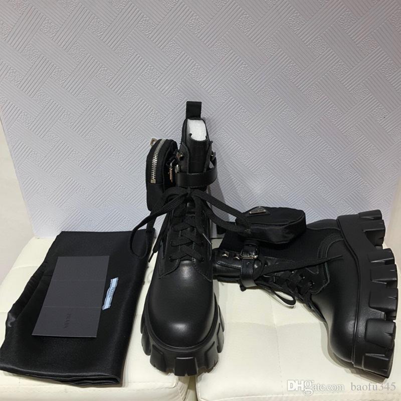 Designer Womens Monolith motocicleta botas de luxo na altura do joelho preto Saco Botas Plataforma de alta qualidade com caixa Tamanho 35-40