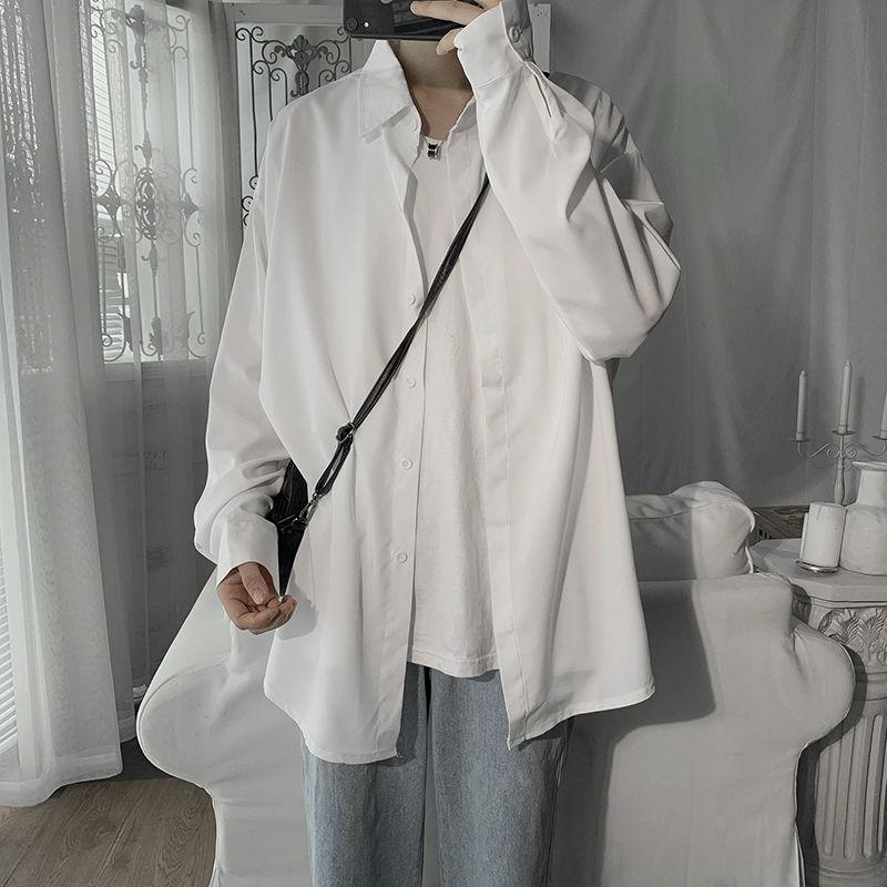 2020 весной и летом новые молодежи Популярные Парой Простой Сплошной цвет Сыпучие рубашку с длинными рукавами Мода Повседневная рубашка куртка M-2XL