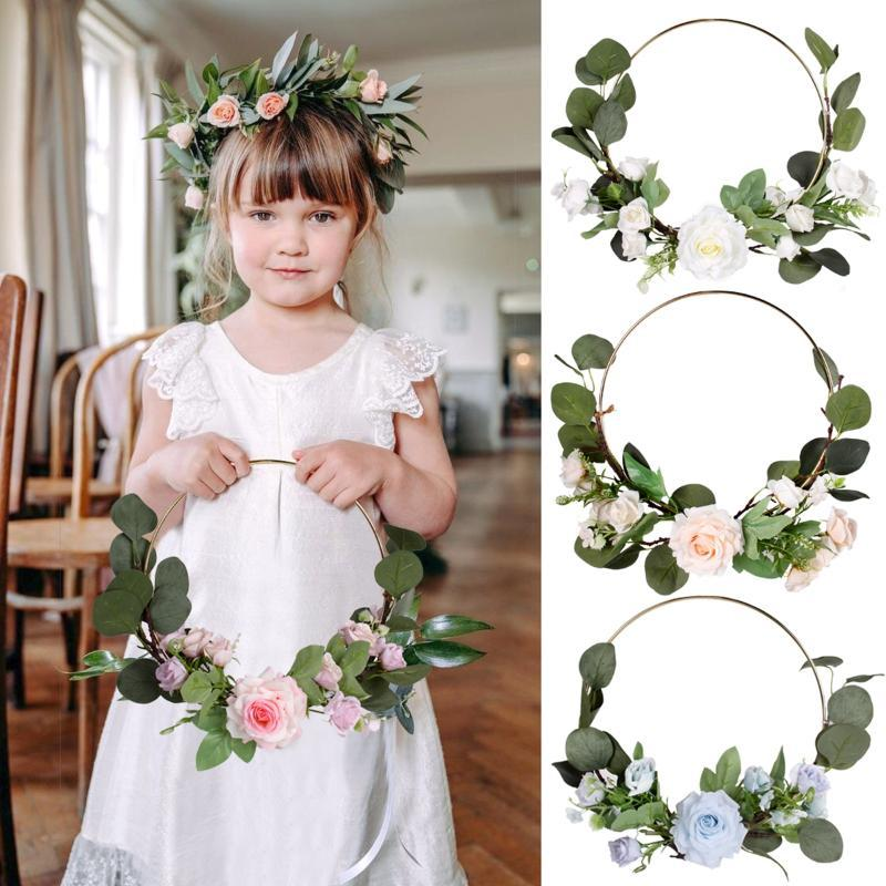 Artificial Flower Geometric Metal Wire Wreath Ornaments For Wedding Party Door Wall Hanging Garland DIY Wedding Decoration