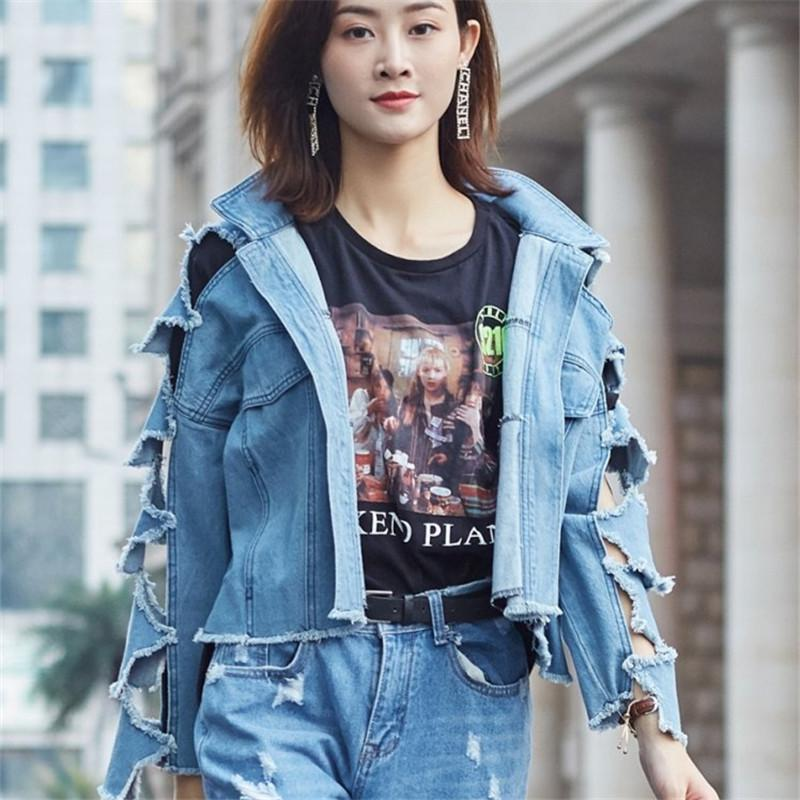 Spring Washed Vintage Stars Hollow out Casual Holed Burr Denim jacket for women Plus size Autumn Short Loose Female Clothing New