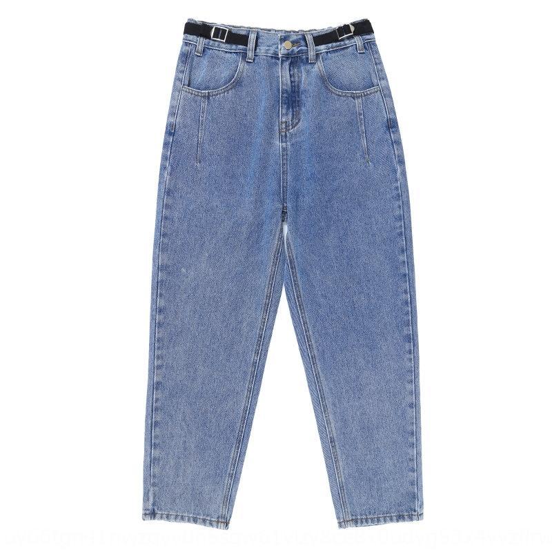 xvhQD 8Ynko donne grasse Grande plus size per pantaloni papà in più a vita alta 2019 della molla nuovi pantaloni elastici Harlan e alla caviglia perdono jeans a vita
