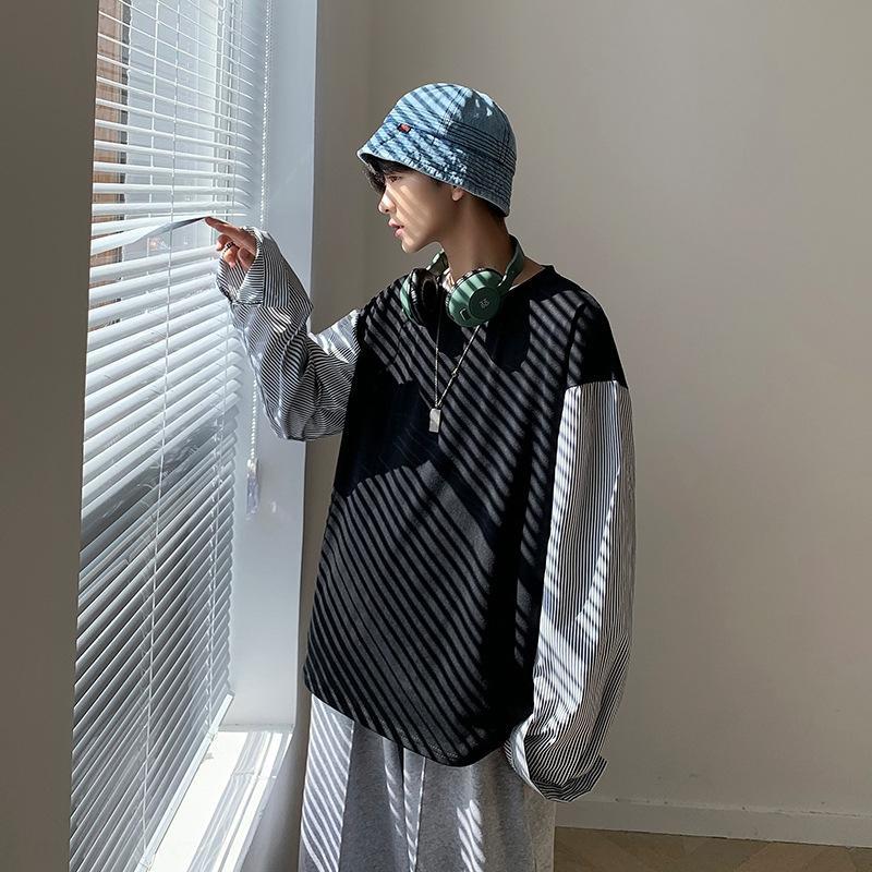4mLfZ printemps et le style coréen de la faux Sweatersweater hommes hommes automne ins Top deux pièces chandail à la mode chemise base ronde lâche étudiant occasionnel n