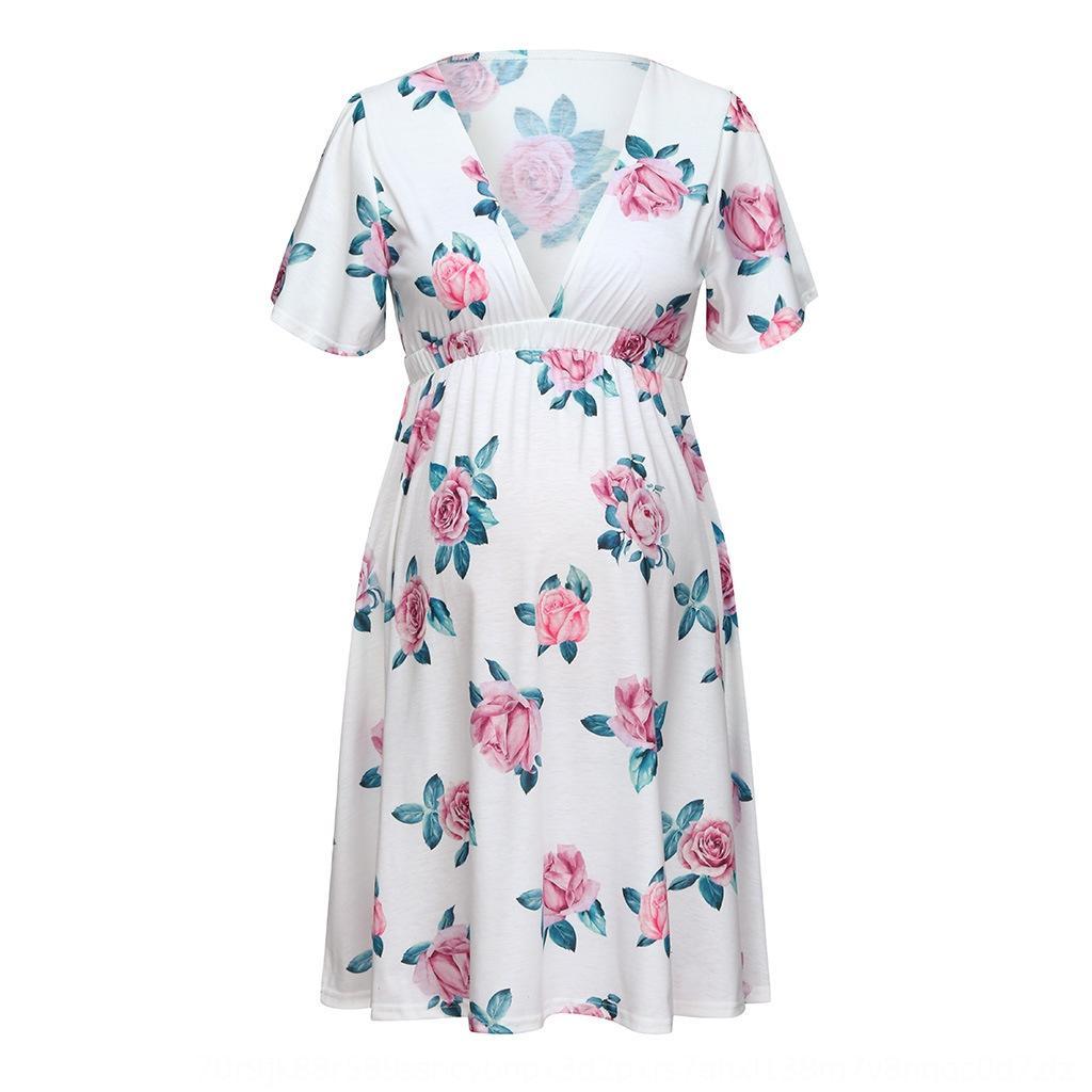 AOgHH Nuovo vestito delle donne incinte 2020 nuova estate sexy di maternità vestiti vestiti di maternità vestiti stampati della vita delle donne del tutto-fiammifero con scollo a V