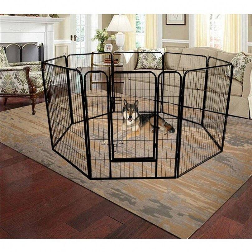US STOCK Folding Metal Exercise Pen/Pet Playpen,8-Panel Heavy Duty Large Dog Fence, Cat Puppy Pet Exercise Playpen Indoor Outdoor W24101525