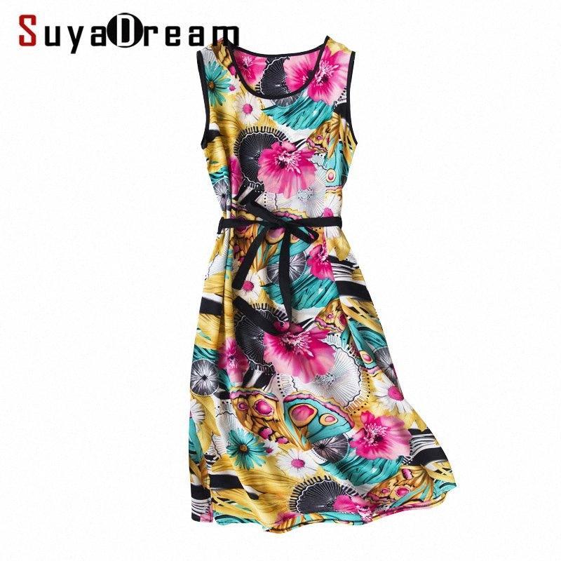 SuyaDream Женщина шелкового платье 100% шелковый креп печатного Sash Midi платье для лета женщин без рукавов Boho платья 2020 Vestidos iAxf #