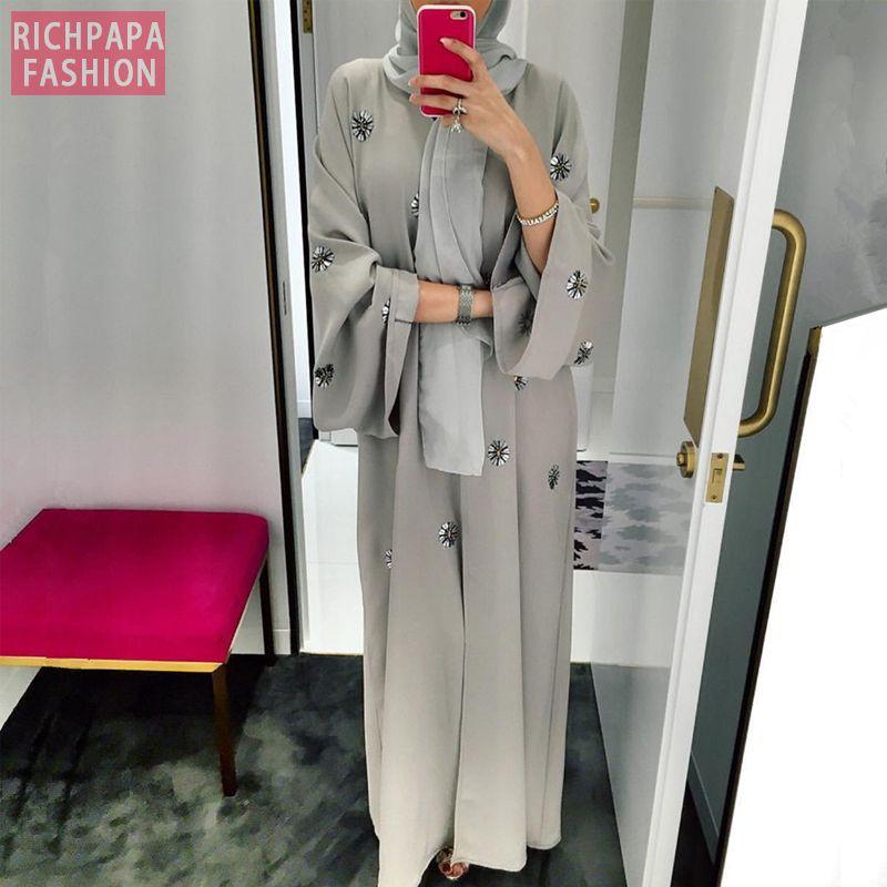 Этническая одежда Abaya Femme Kimono Kaftan Robe Dubai Ислам Мусульманское Hijab Платье Abayas Caftan Marocain Катар Оман Турция Elbise Ramadan