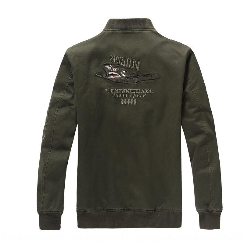 Nuevo soporte de hilo piloto chaqueta del otoño de cuello al aire libre chaqueta de piloto iXRwf Nuevo soporte de hilo exterior del collar del otoño de los hombres de los hombres