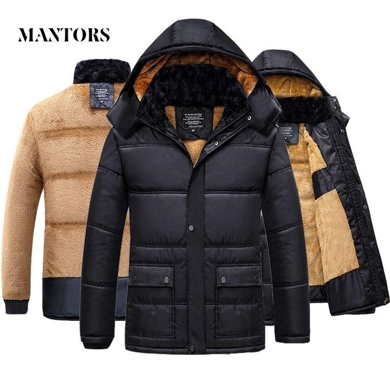 2020 Winter-Mann-Mantel-warme Fleece Freizeit mit Kapuze Outwears Male Parka Coats Männer Plus Velvet Thien Pelz Zipper Overcoat