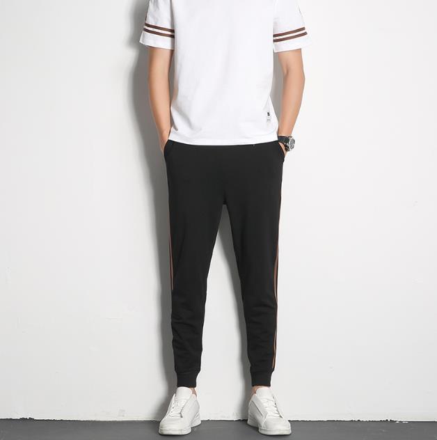 2PCS Imposta modo di colore solido Maschio Abbigliamento Slim Mens Pullover Sport Tute manica corta Pantaloni Homme