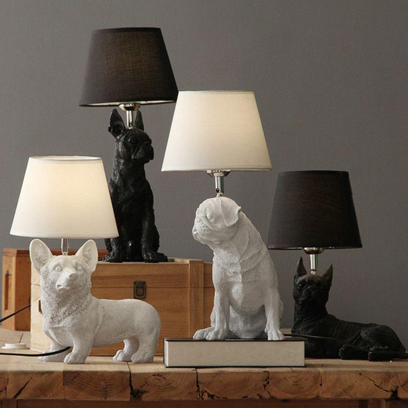 camera da letto lampada da comodino studio creativo lampada decorativa lampada da tavolo in resina cucciolo stanza degli animali dei bambini del Nord Europa retrò