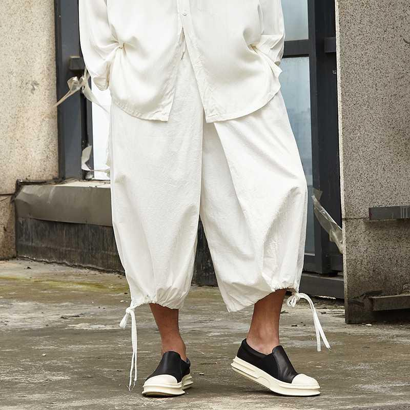 Los hombres de la vendimia floja ocasional del algodón de lino de ancho pierna Faldas Pantalones Hombre Streetwear Hip Hop punky gótico del kimono de Japón Pant Pantalones Harem