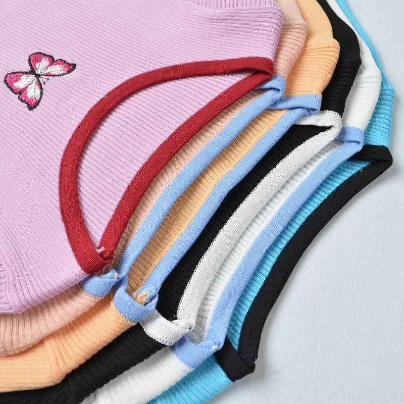 2020 été nouvelle chemise de base T-shirt papillon brodé chic, pull Pin couleur de contraste papillon à manches courtes à l'intérieur
