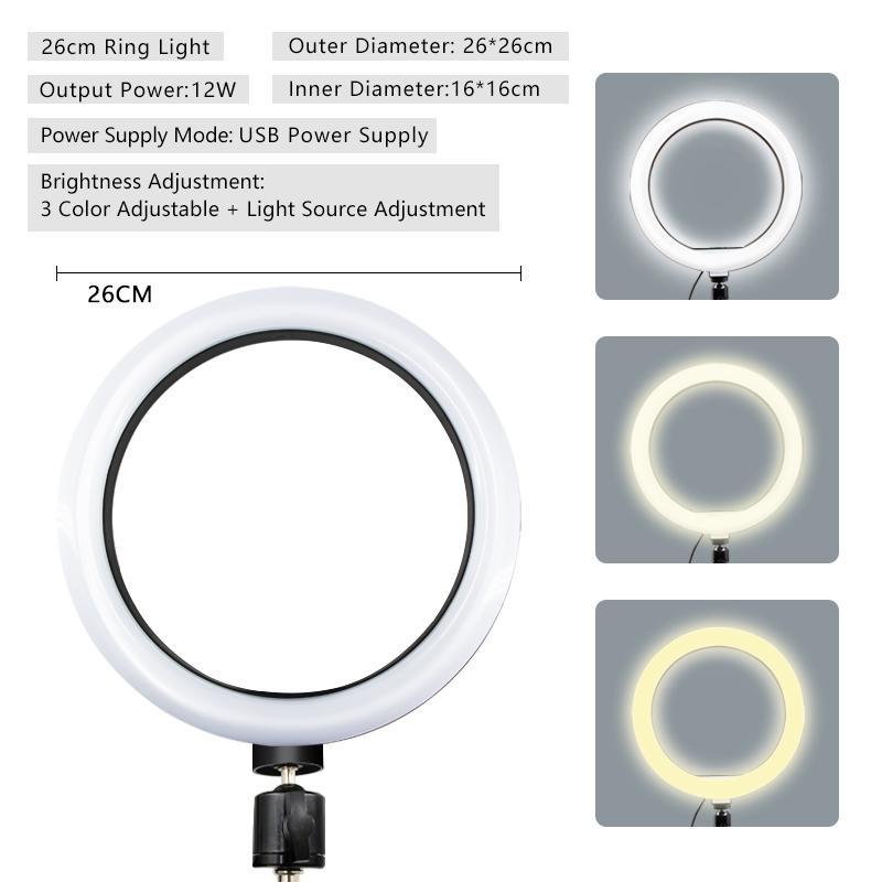 26cm Selfie-Ring-Licht-Kamera-Telefon USB-Ring-Licht-Fotobeleuchtung Fülllichter mit Handyhalter für Video-Studio-Licht