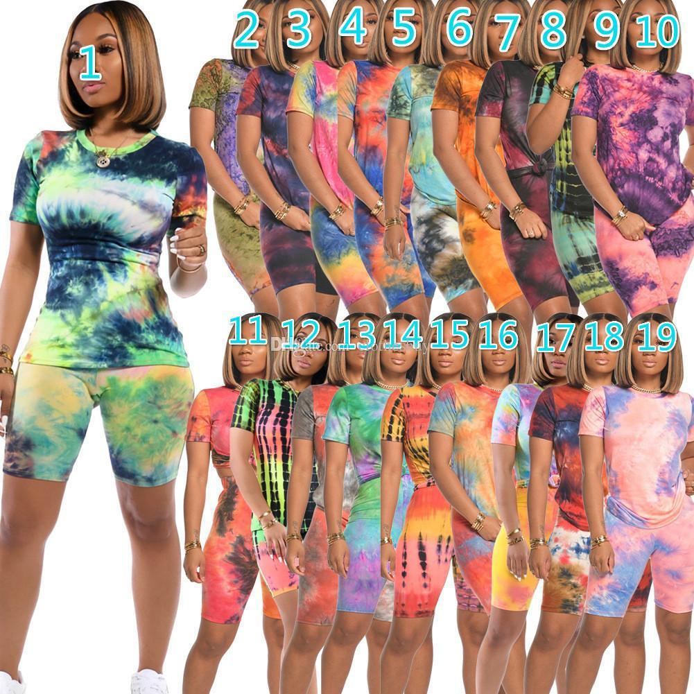مصمم إمرأة 2 قطعتين تتسابق الصيف رياضية الشفاه التعادل صبغ تي شيرت قمم + السراويل قطعة مجموعة زائد حجم السيدات sweatsuits الملابس الرياضية