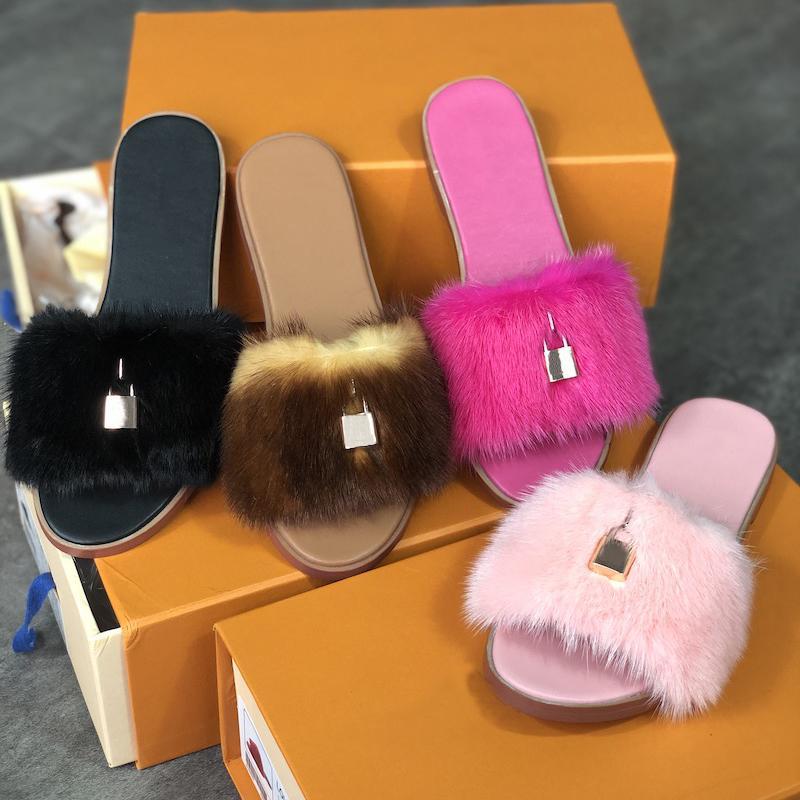 Designer Shoes Scarpe Donna pelliccia sandalo piatto Booties bloccarlo Mules Vera Pelle Fur Fashion Dress Slipper Sandali all'aperto con Box EU35-42