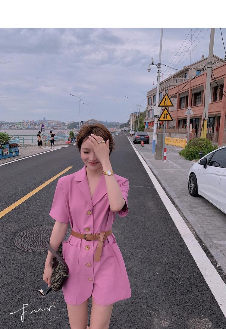 SqQYr BtbHf Lin Shanshan cinto de verão estilo terno vestido de cintura elegante luz de maturação papel emagrecimento vestido rosa da Mulher