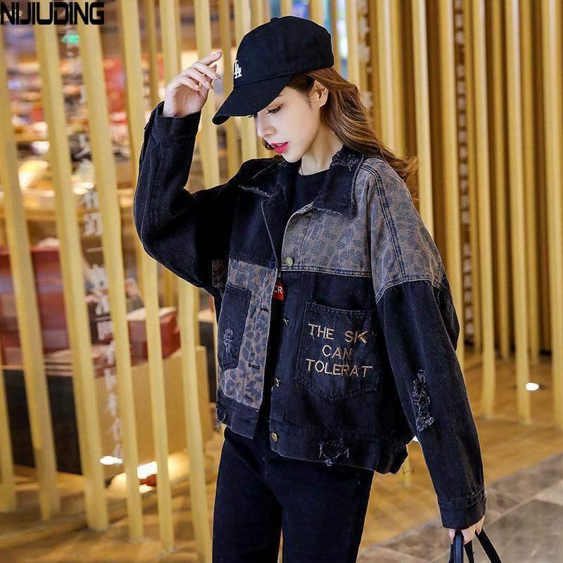 CX200811 NIJIUDING Negro Denim Chaqueta Mujer Chaqueta 2020 nuevos otoño Ins marea coreana bordado flojo de la manera salvaje de la mujer