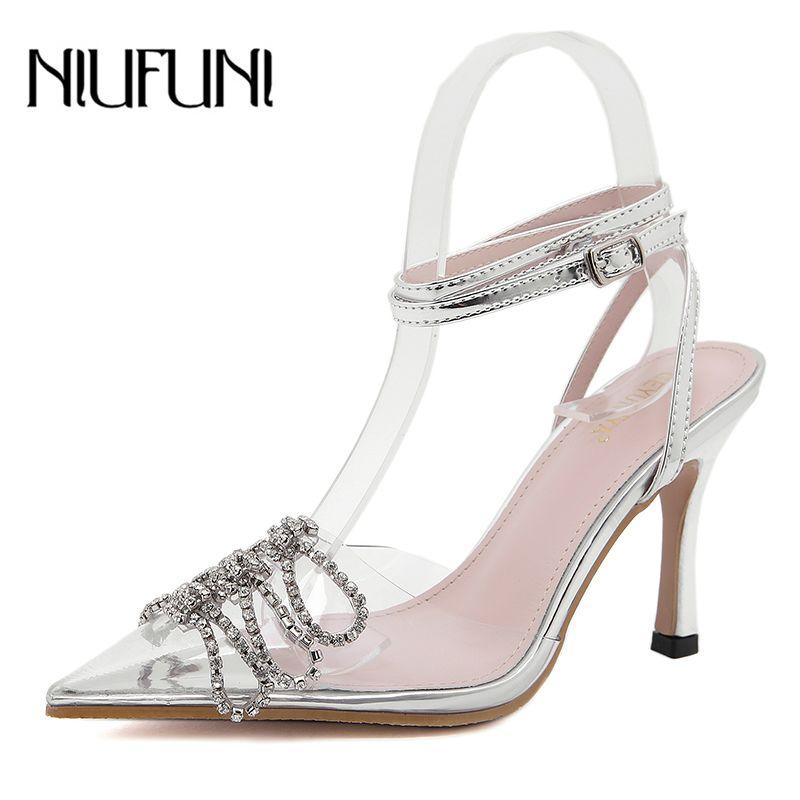 NIUFUNI transparent strass bout pointu cristal Sandales Sexy Bow cristal Talons Stiletto Boucle d'été Chaussures
