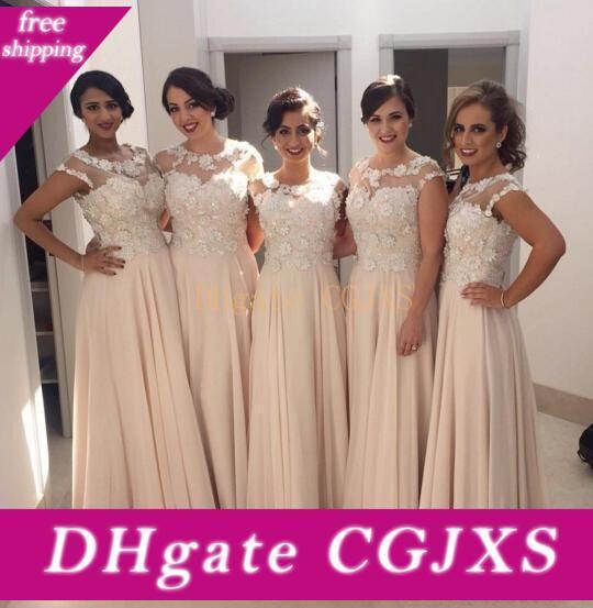 2020 Elegant Chiffon Rosa longo da dama de honra Vestidos sem mangas colher casamento formal Vestidos A Linha de Trem da varredura Vestidos