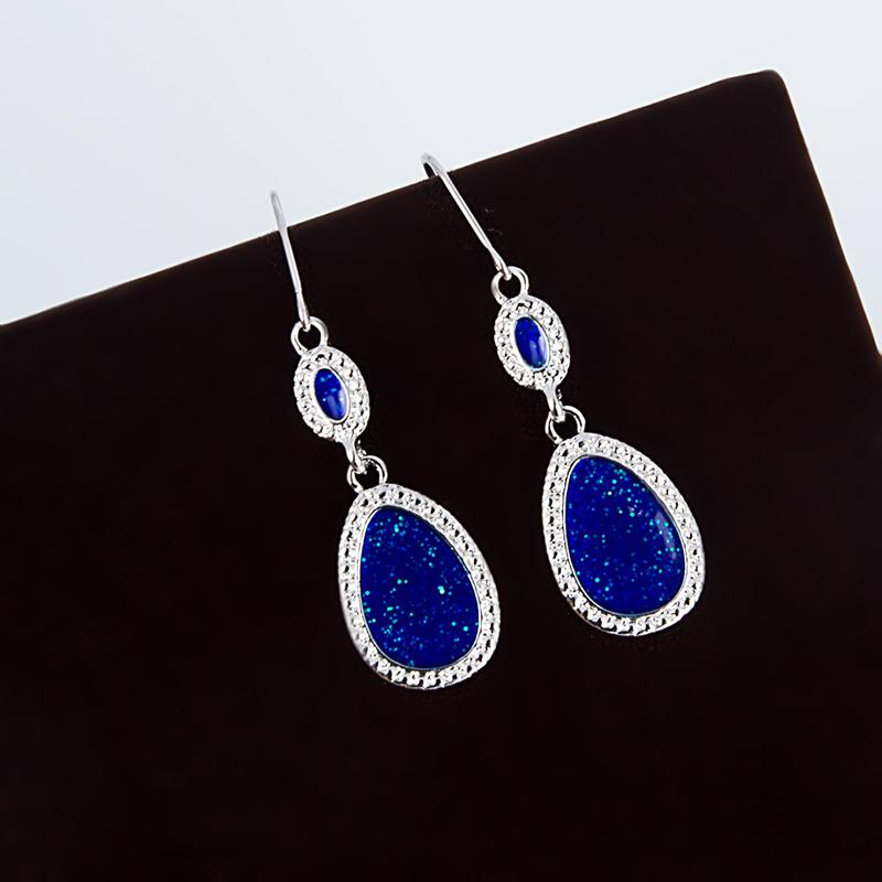 Классический Vintage смола Water Drop мотаться серьги синих серьги падения для женщин Свадьбы / Обручальных себе серьги ювелирных изделий