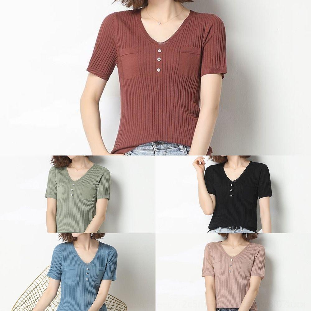 GEaOI Top amashi meia de seda Irmão malhas malhas colar fina curto top de manga curta de galinha t-shirt de manga verão oca das mulheres