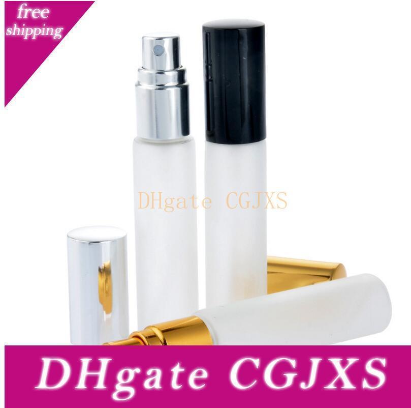 10мл матовое стекло Spray Bottle Портативный Empty атомизатор Sample ампул с золотой Silver Cap Lx1201