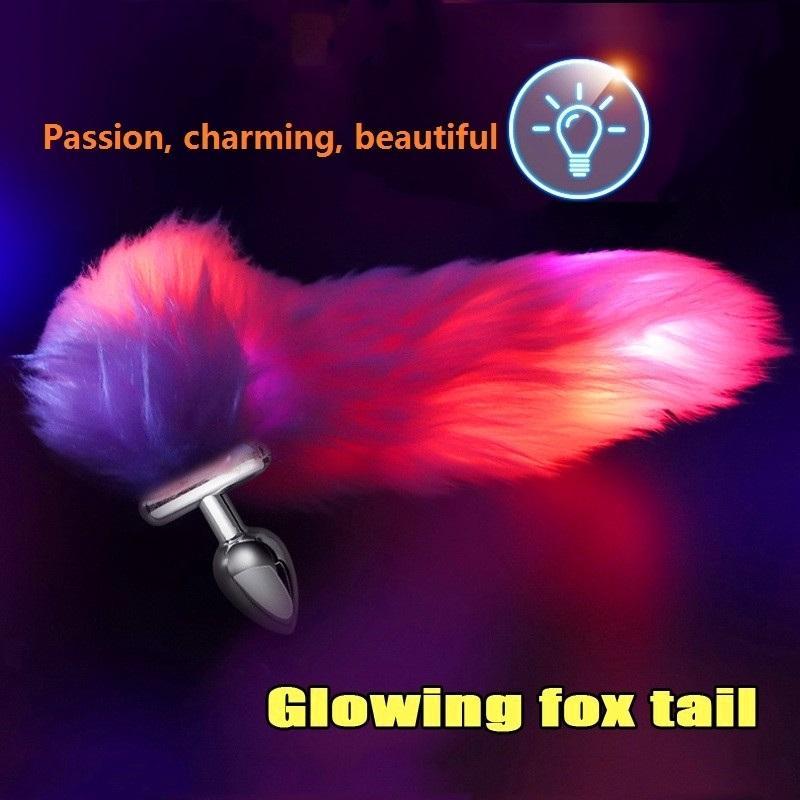Illuminate Fuchsschwanz Edelstahl / Silikon Abnehmbare Analdehner Mann / Frauen Buttplug Lange Plug-Stimulation Sex-Spielzeug. Y200422