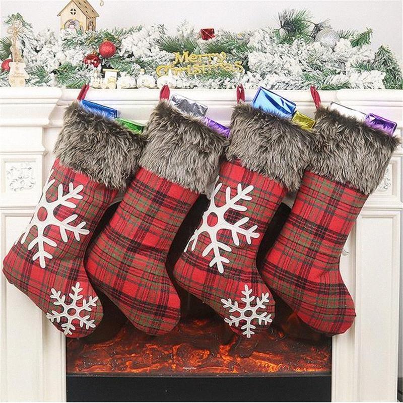 1Pc Новый год с Рождеством украшения чулки Санта-Клаус Носок подарков Дети конфеты мешок Chirstmas Xmas Tree висячие украшения Носок pexG #
