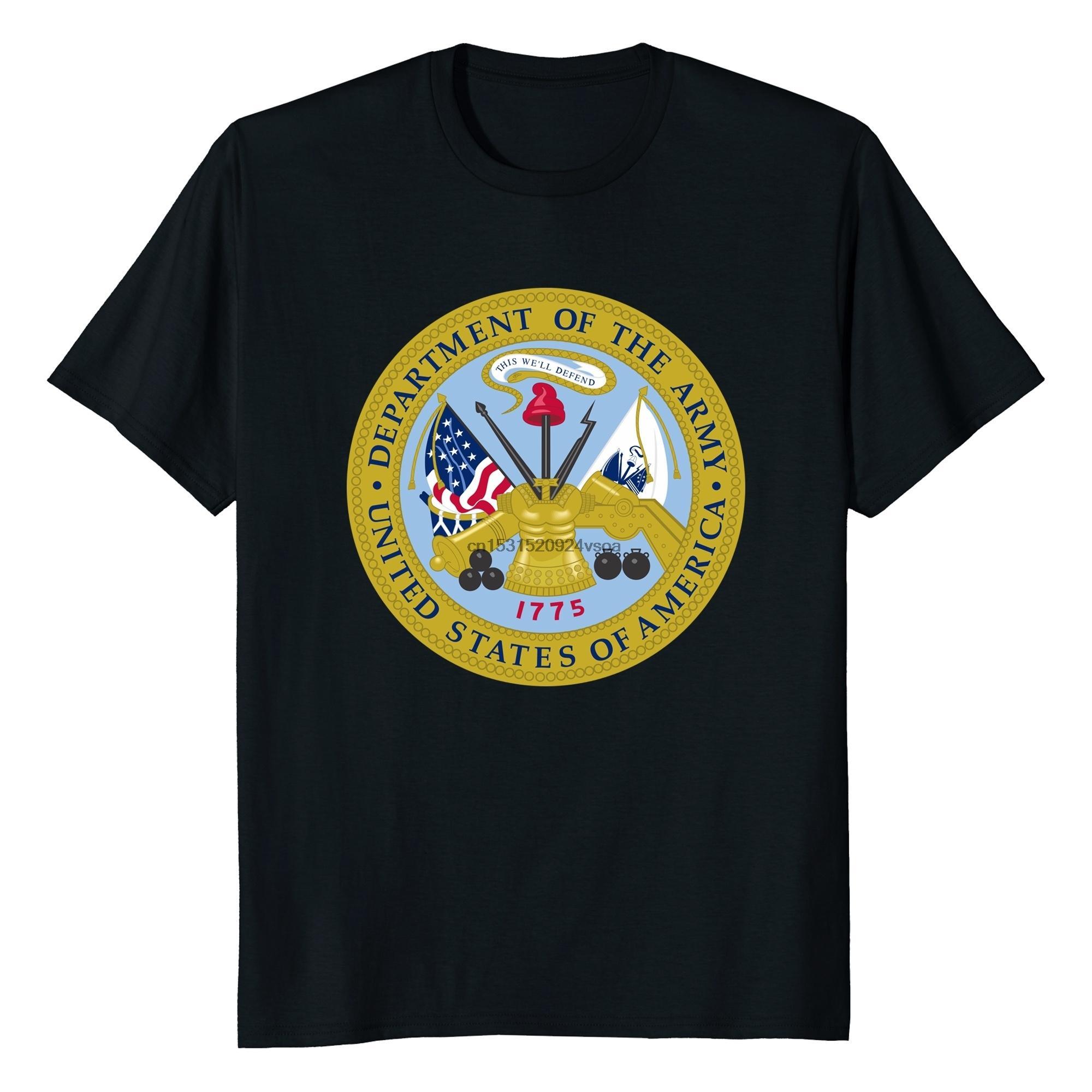 Logotipo del Ejército de los Estados impreso manera divertida de algodón de los hombres camiseta de los hombres Tops Camiseta divertida