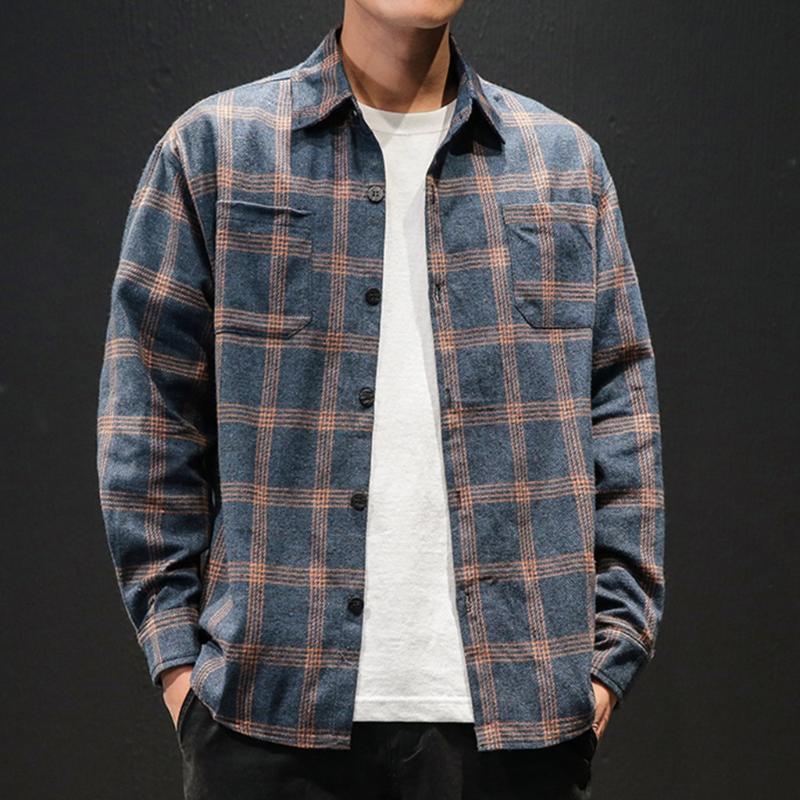2020 Casual hombres de la moda nuevo estilo retro de manga larga a cuadros camisa de la impresión vestido de camisa masculina Social Hombres Ropa suave C1 cómodo
